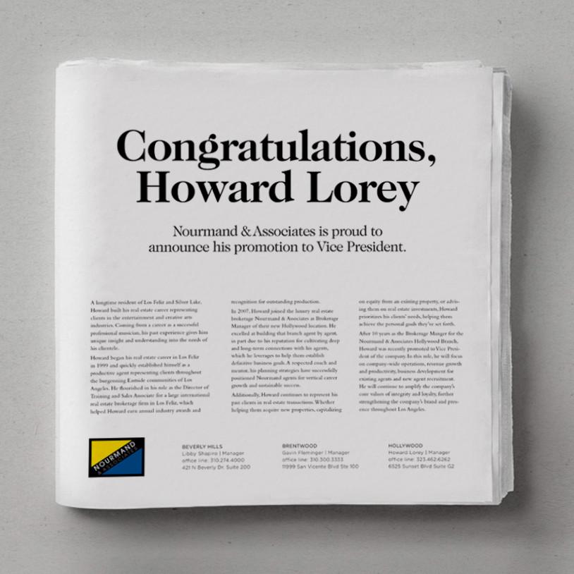 Congratulatory LA Times Ad
