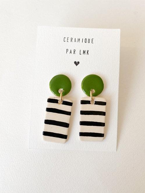 Paire de boucles d'oreilles céramique RECTANGULA vert et rayures noires
