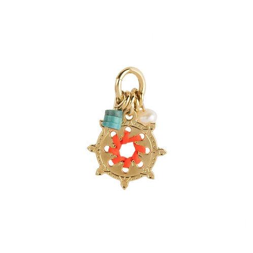 Amulette roue orange