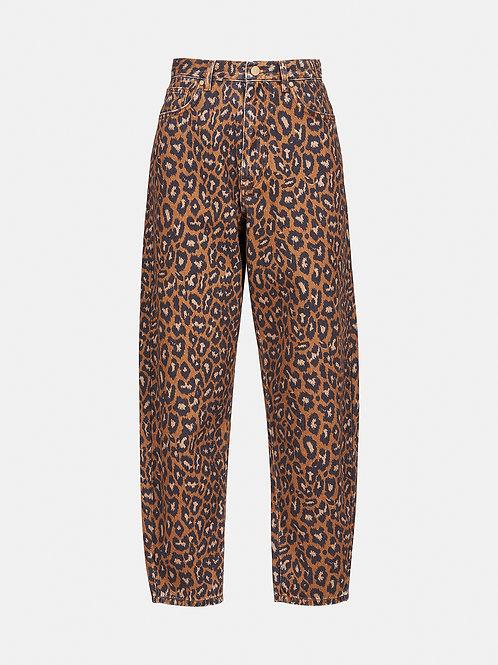 Jean taille haute imprimé léopard