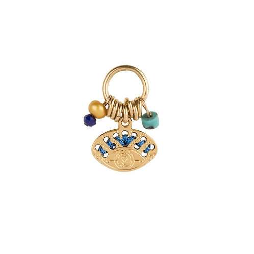 Amulette ovale bleu