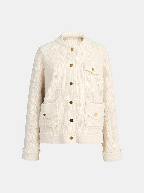 Veste tricot blanc cassée