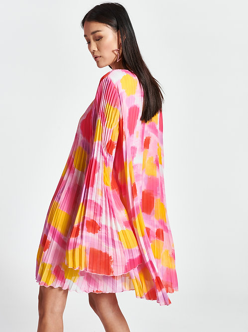 Robe plissée motif aquarelle