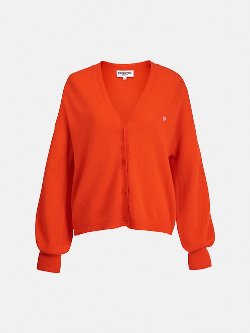 Cardigan orange brodé