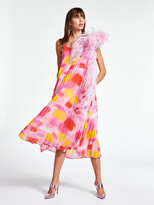 Robe midi plissée rose et jaune