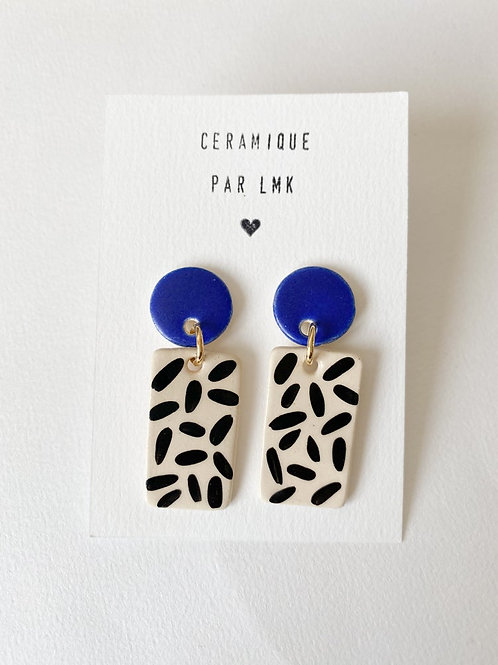 Paire de boucles d'oreilles céramique RECTANGULA PM bleu mat et riz noir
