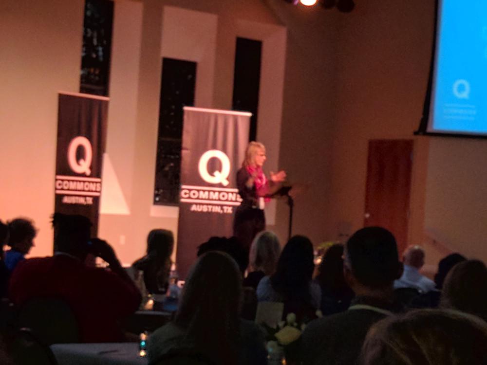 Carol Kallenorf speaks at Q Commons