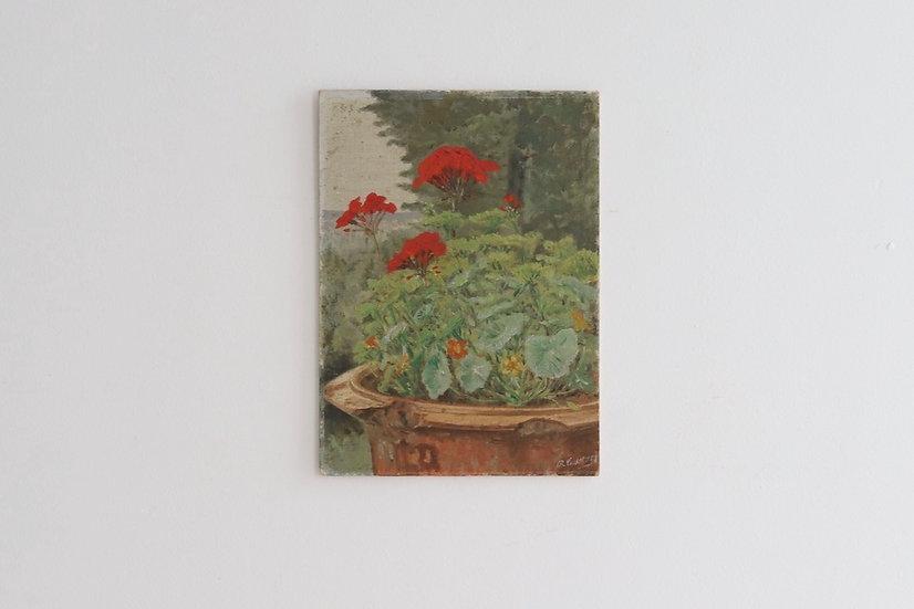 oil painting'Geranium and landscape'