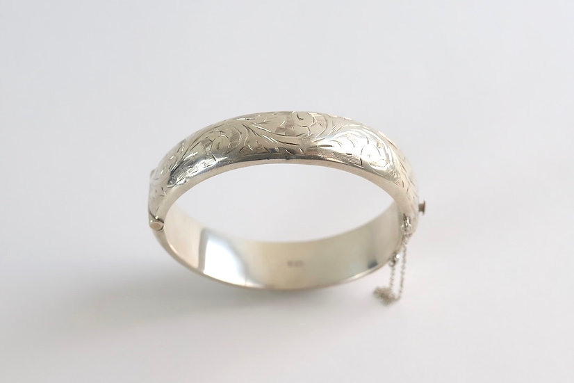 sterling silver etching bangle