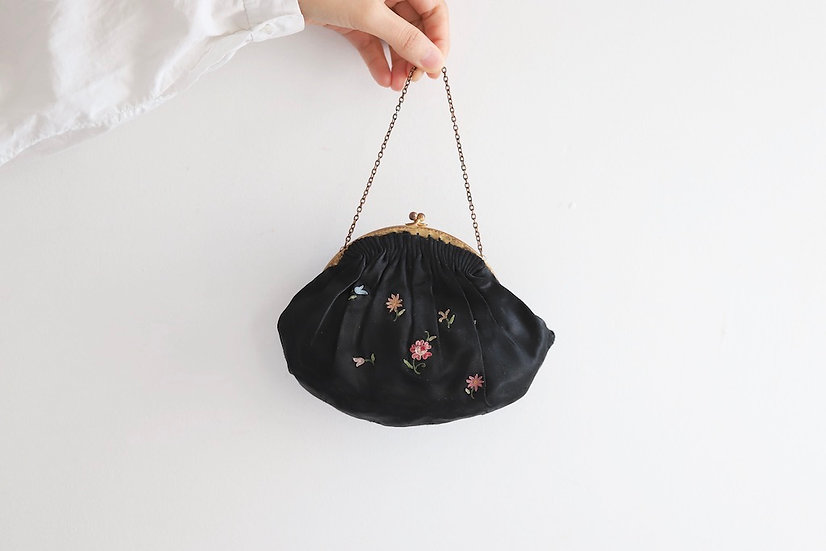 silk opera bag noir