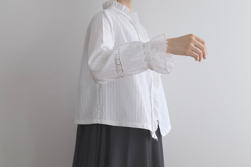 patched sleeve blouse