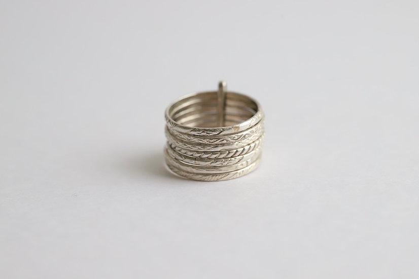 sterling silver seven strand rings