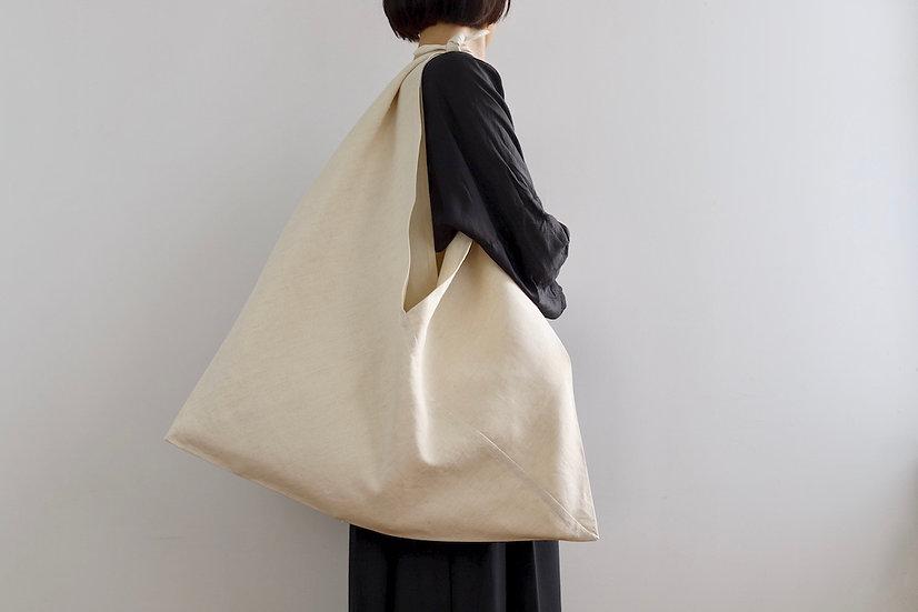 French antique linen bag/beige
