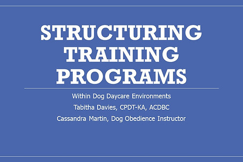 structuring training programs in a daycare setting