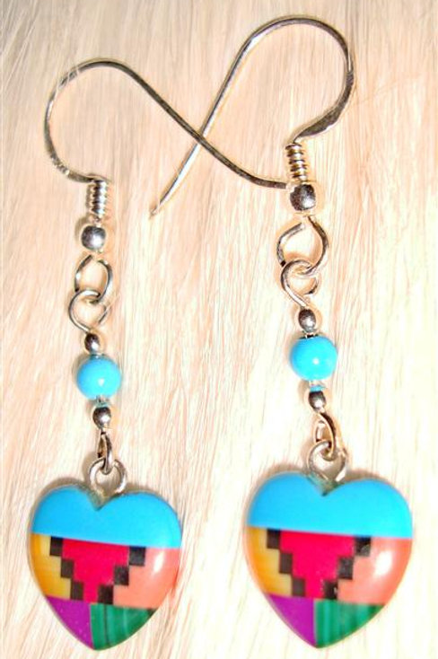 Multi Stone Inlay Heart Earrings