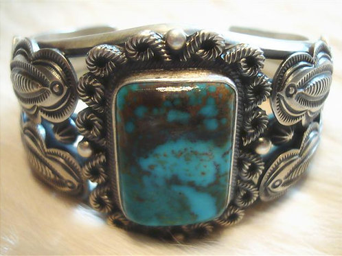 Very Heavy Navajo Sterling & Turquoise Cuff