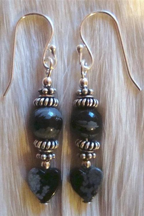 Snowflake Obsidian Hearts & Sterling Silver Earrings
