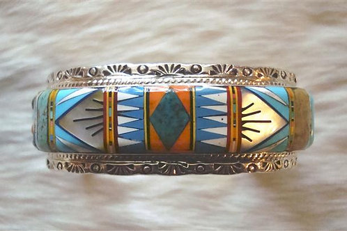 Lots of Sky Blue In This Inlay Cuff