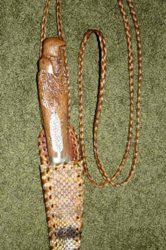 Wood Eagle Knife with Snake Skin Sheath