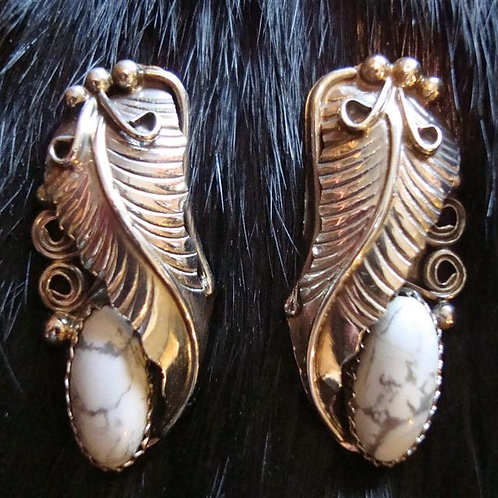 White Buffalo Turquoise & Sterling Earrings