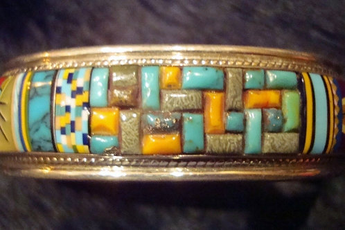 Cobblestone & Channel Inlay  Cuff Bracelet
