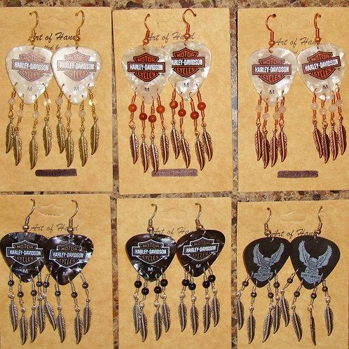 Harley Davidson Guitar Pick Earrings