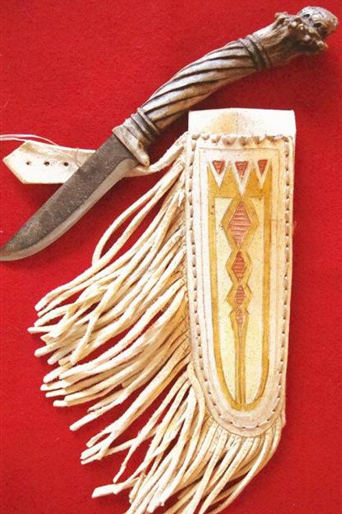 Jeff II Hawks Carved Antler Belt Knife