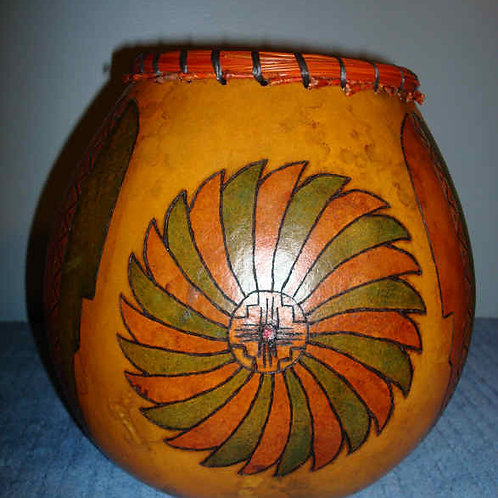 Pine Needle Top Feather & Four Corner Design Gourd