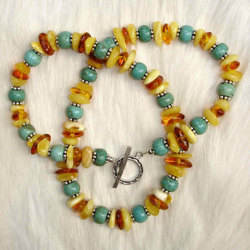 Turquoise and Amber Mix Necklace