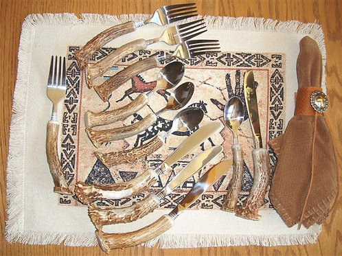 Four - Three Piece Antler & Stainless Place Settings