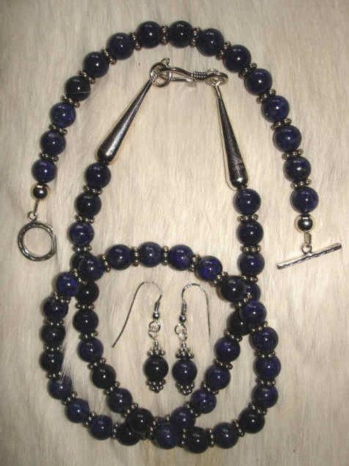 Deep Blue Lapis Necklace, Bracelet And Earrings