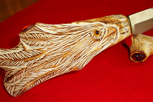 Carved Antler Eagle Knife