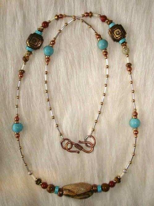 Multi Stone And Metal Necklace