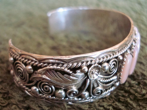 Light Pink Mop Shell & Sterling Silver Filigree Cuff