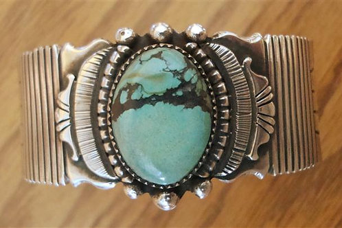 Heavy Sterling Silver & Turquoise Cuff