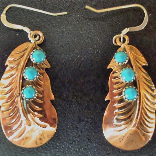 Copper, Sterling Silver & Turquoise Earrings