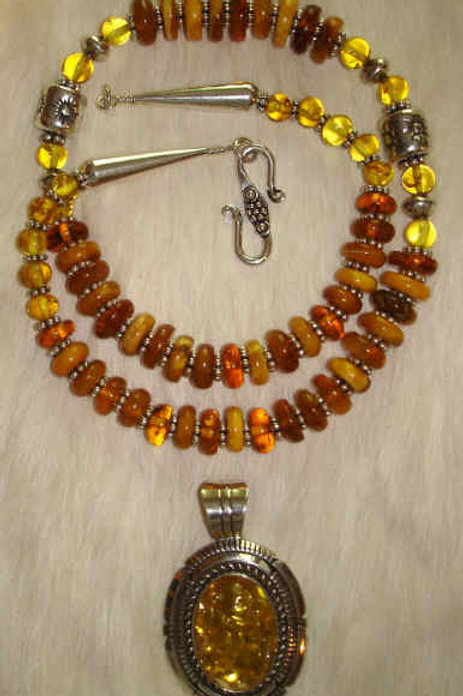 Multi Color Amber & Sterling Necklace With Removable Sterling & Light Amber Pend