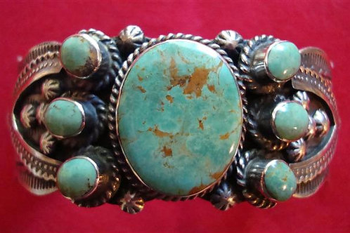 Real Nice Blue Green Turquoise Cuff Made to Look Old Style