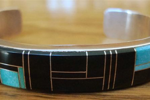 Great Little Inlay Turquoise & Onyx Cuff