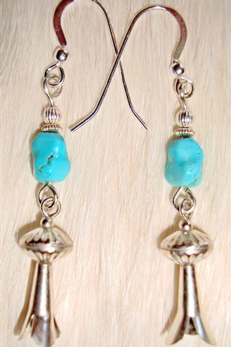 Turquoise & Sterling Squash Blossom Earrings