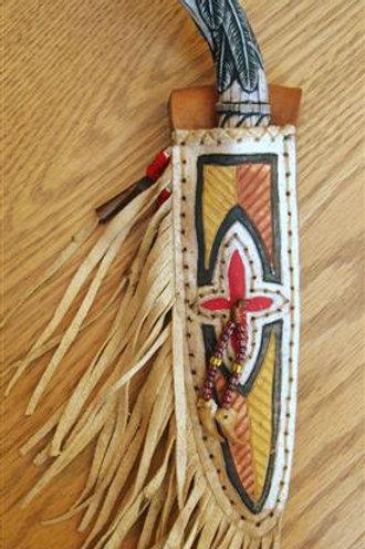 Jeff II Hawks Carved Antler Feathers Belt Knife