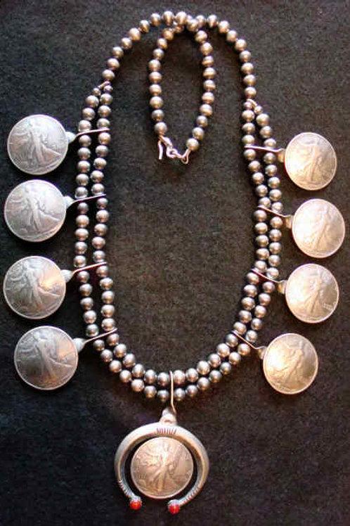 Old Walking Liberty Half Dollar Navajo Concho Necklace