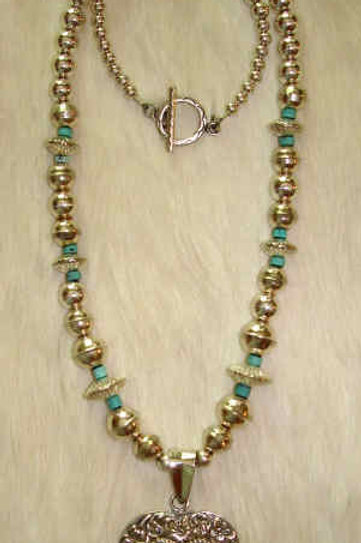 Sterling Silver Heart Necklace With Turquoise