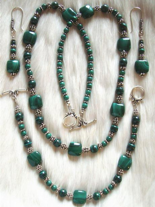 Malichite & Sterling Bali Bead Necklace Bracelet & Earrings