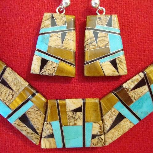 Amazing Inlay Necklace & Earring Set
