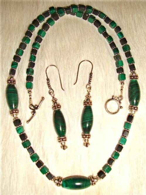 Malichite & Onyx Sterling Bali Bead Necklace