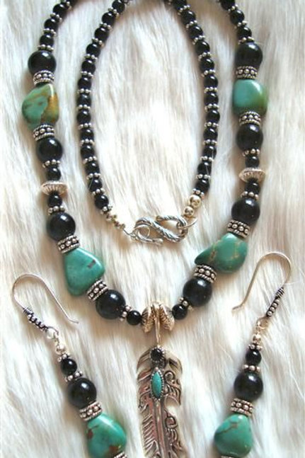Turquoise & Onyx Necklace With Feather Drop