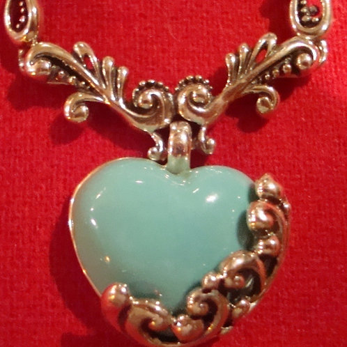 Turquoise & Sterling Silver Heart Necklace
