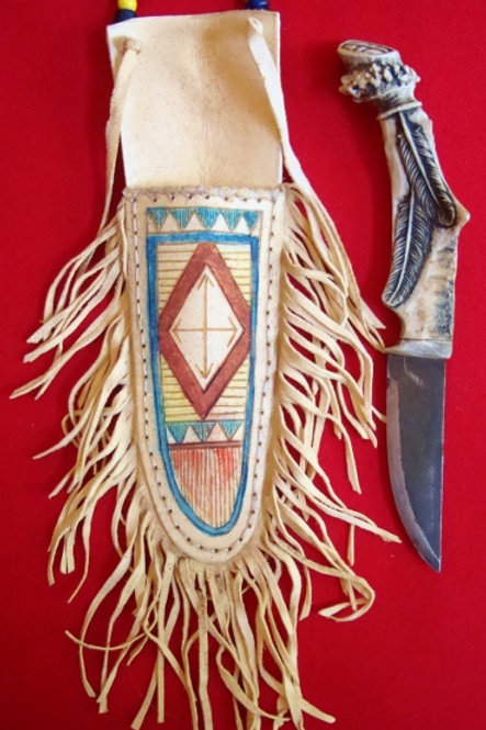 Jeff II Hawks Antler Carved Neck Knife