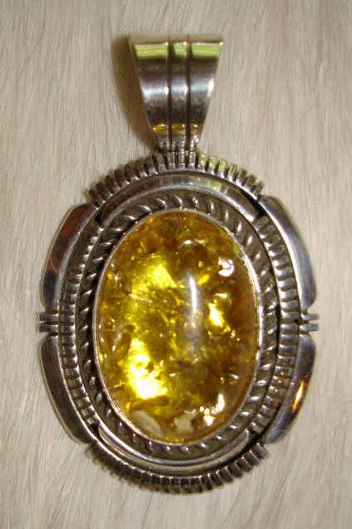 Light Amber & Sterling Pendant